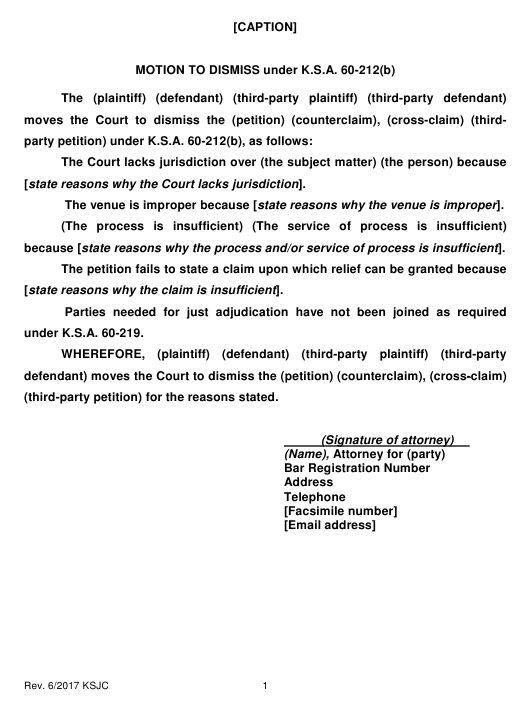 """Motion to Dismiss Under K.s.a. 60-212(B)"" - Kansas Download Pdf"