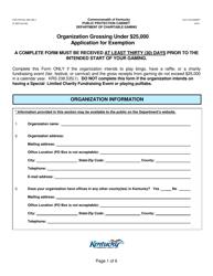 "Form CG-EXEMPT ""Organization Grossing Under $25,000 Application for Exemption"" - Kentucky"