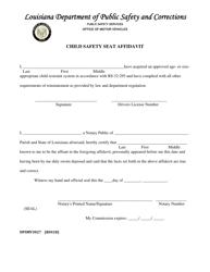 "Form DPSMV3027 ""Child Safety Seat Affidavit"" - Louisiana"