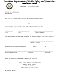 "Form DPSMV1812 ""Street Rod Affidavit"" - Louisiana"