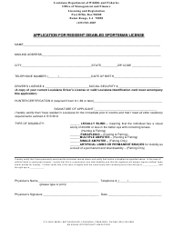 """""""Application for Resident Disabled Sportsman License"""" - Louisiana"""