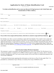 """Form MV-16 """"Application for State of Maine Identification Card"""" - Maine"""