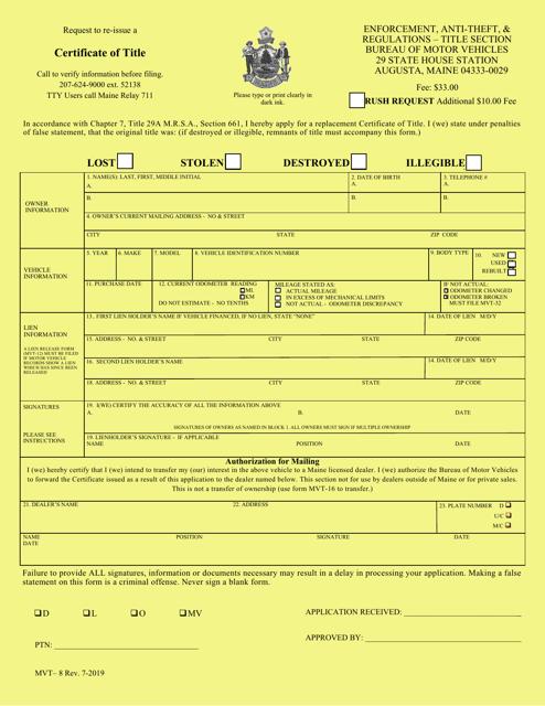 Form MVT-8  Printable Pdf