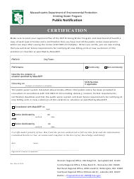 """Public Notification Certification Form for Tier 1-3 Violations"" - Massachusetts"