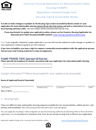 """""""Champ Application Update/Change Form - Housing Type & Accessibility Needs"""" - Massachusetts"""