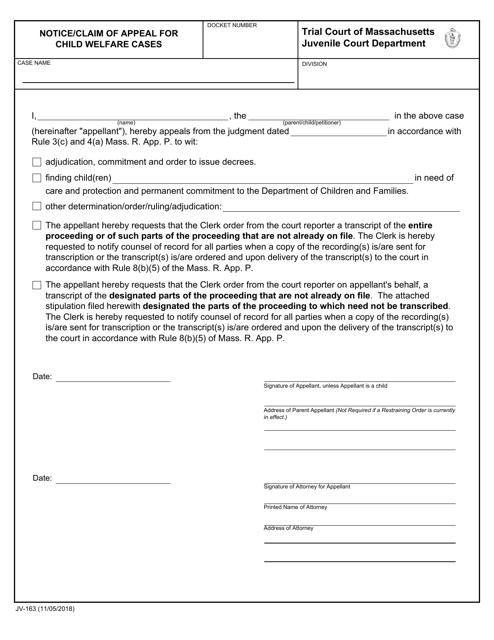Form JV-163  Printable Pdf