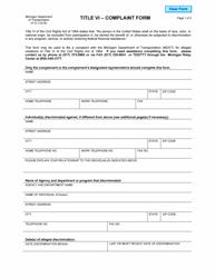 """Form 0112 """"Title VI - Complaint Form"""" - Michigan"""