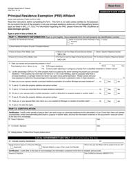 "Form 2368 ""Principal Residence Exemption (Pre) Affidavit"" - Michigan"