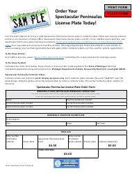 "Form SP ""Spectacular Peninsulas License Plate Order Form"" - Michigan"