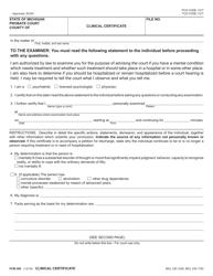 "Form PCM208 ""Clinical Certificate"" - Michigan"