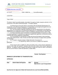 """Force Account Agreement"" - Minnesota"