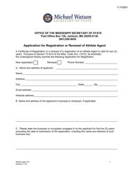 """""""Application for Registration or Renewal of Athlete Agent"""" - Mississippi"""