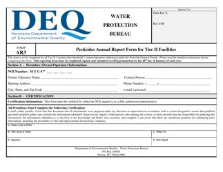 "Form AR3 ""Pesticides Annual Report Form for Tier Ii Facilities"" - Montana"