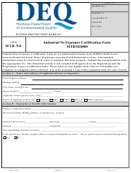 "Form MTR-NE ""Industrial No Exposure Certification Form Mtrne0000"" - Montana"