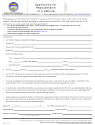 "Form MV11 ""Application for Repossession of a Motor Vehicle/Vessel"" - Montana"