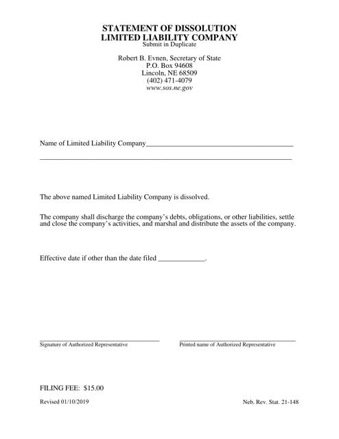 """Statement of Dissolution Limited Liability Company"" - Nebraska Download Pdf"