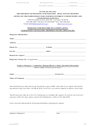 """Form 780 """"Request for Record of Complaints: Community Manager / Reserve Study Specialist"""" - Nevada"""
