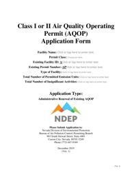 """Class I or Ii Air Quality Operating Permit (Aqop) Application Form"" - Nevada"
