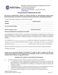 """Formulario 0000RCCD-005 """"Aplicacion De Eliminacion De Adn"""" - Nevada (Spanish)"""