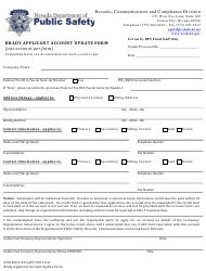 "Form 0501RCCD-015A ""Brady Applicant Account Update Form"" - Nevada"
