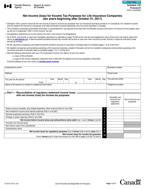 Form T2SCH150 Schedule 150 Printable Pdf