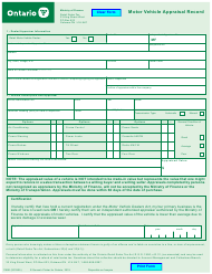 "Form 1159E ""Motor Vehicle Appraisal Record"" - Ontario, Canada"