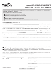 "Form 13 (YG3990) ""Notice of Intention to Transfer an Involuntary Patient (Yukon Resident)"" - Yukon, Canada"