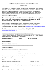 """Pei Nursing Recruitment Incentive Program Reference Form"" - Prince Edward Island, Canada"