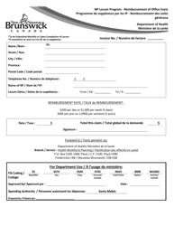 """Np Locum Program - Reimbursement of Office Costs"" - New Brunswick, Canada (English/French)"