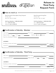 """Form 781E """"Release to Third Party Request Form"""" - New Brunswick, Canada"""