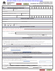 """Form VSA430N """"Application for Change of Name Certificate"""" - British Columbia, Canada"""