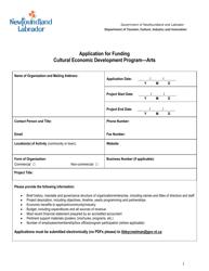 """""""Application for Funding Cultural Economic Development Program - Arts"""" - Newfoundland and Labrador, Canada"""