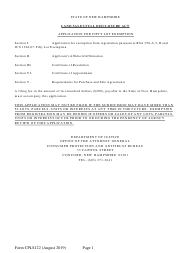 """Form CPLS122 """"Application for 10 Residential Unit Exemption"""" - New Hampshire"""