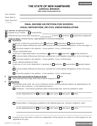 "Form NHJB-2071-F ""Final Decree on Petition for Divorce, Legal Separation, or Civil Union Dissolution"" - New Hampshire"