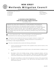 """""""Land Donation Proposal Checklist for Completeness"""" - New Jersey"""