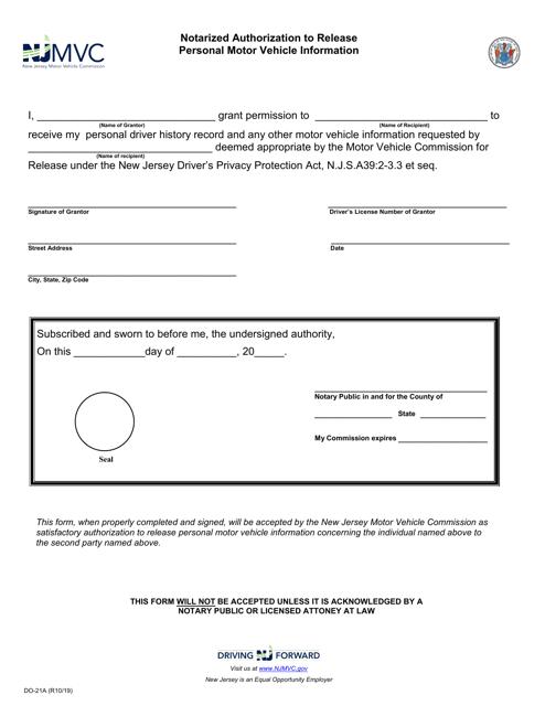 Form DO-21A  Printable Pdf