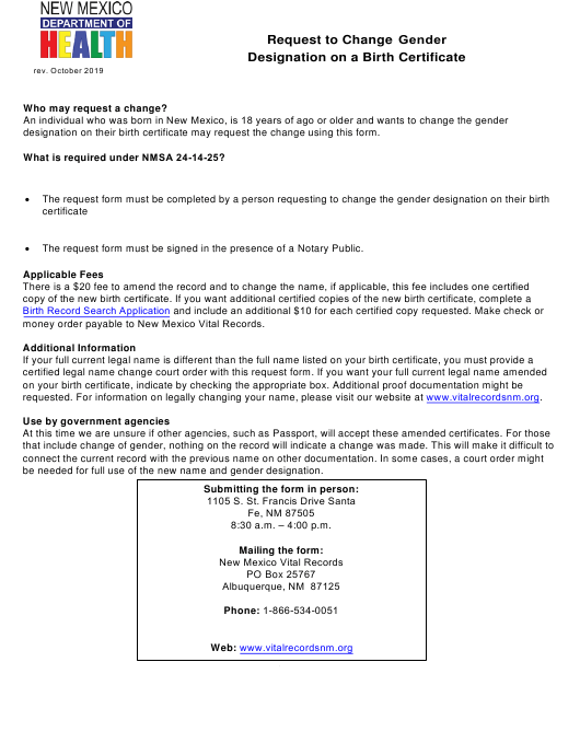 """""""Request to Change Gender Designation on a Birth Certificate"""" - New Mexico Download Pdf"""