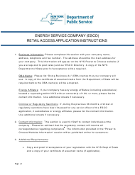 """Instructions for """"Energy Service Company (Esco) Retail Access Application"""" - New York"""