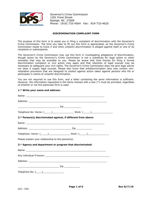 Form GCC-102A  Printable Pdf