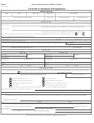 "Form MVR-5 ""Corrected or Substitute Title Application"" - North Carolina"