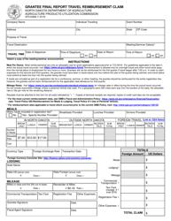 "Form SFN60886 ""Grantee Final Report Travel Reimbursement Claim"" - North Dakota"