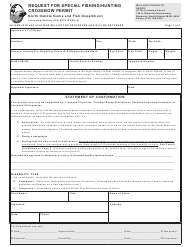 """Form SFN6076 """"Request for Special Fishing/Hunting Crossbow Permit"""" - North Dakota"""
