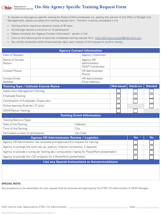 """""""On-Site Agency Specific Training Request Form"""" - Ohio Download Pdf"""