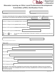 """Educator Leaving an Ohio Local Professional Development Committee (Lpdc) Verification Form"" - Ohio"