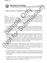 """Form A-1 """"Initial Voluntary Temporary License/Certificate Surrender"""" - Ohio"""