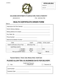 """Health Certification Order Form"" - Oklahoma"