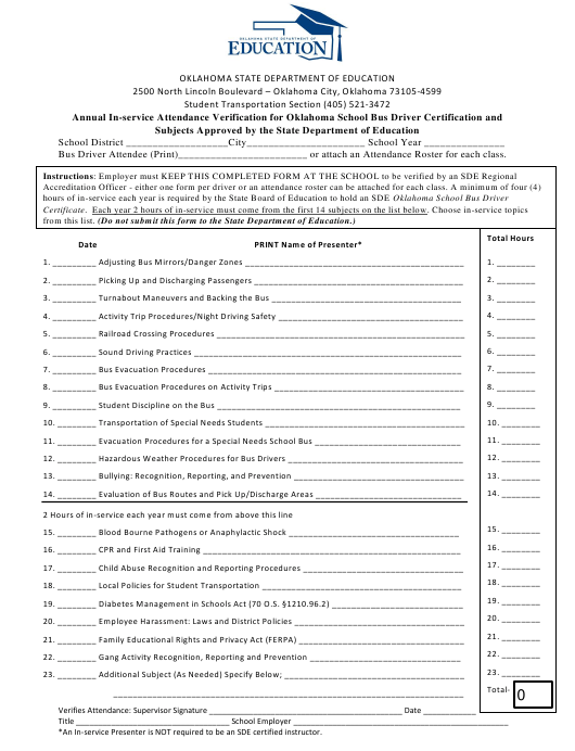 """""""Annual in-Service Attendance Verification for Oklahoma School Bus Driver Certification and Subjects Approved by the State Department of Education"""" - Oklahoma Download Pdf"""
