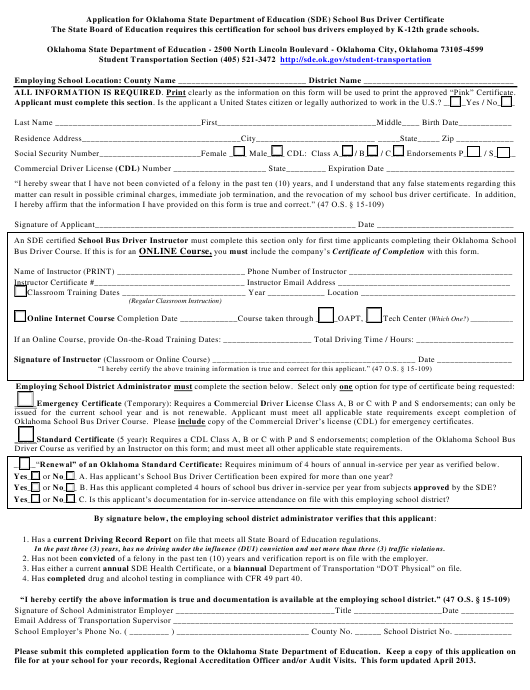 """""""Application for Oklahoma State Department of Education (Sde) School Bus Driver Certificate"""" - Oklahoma Download Pdf"""