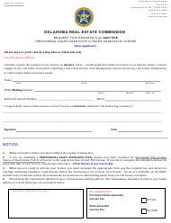 """""""Request for Issuance of an Inactive Provisional Sales Associate or Sales Associate License (New Applicant)"""" - Oklahoma"""