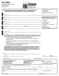 """Immediately Supervised Trainee (Ist) Application Form"" - Oregon, 2020"